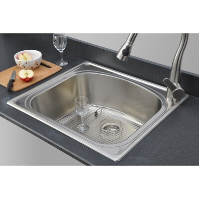 Chicago Series D-shaped Topmount 25 x 22 Drop-In Kitchen Sink