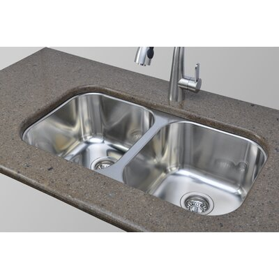 Trio 33.25 x 18.5 Equal Double Kitchen Sink