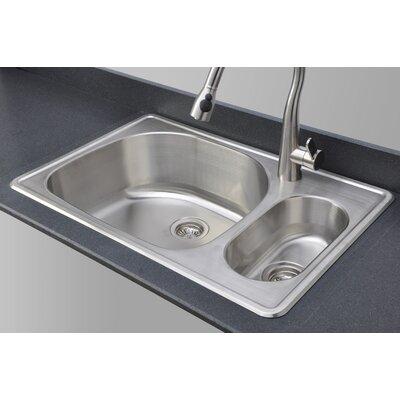 Craftsmen Series 33 x 22 80/20 Topmount Double Bowl Kitchen Sink