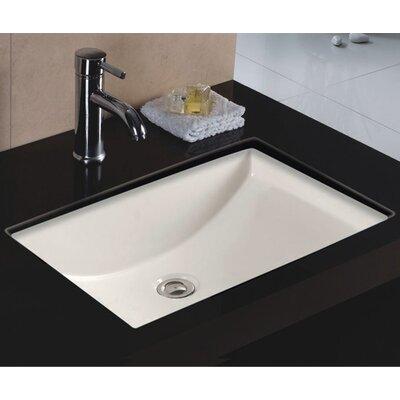 Rhythm Series Ceramic Lavatory Rectangular Undermount Bathroom Sink with Overflow Sink Finish: Bisque