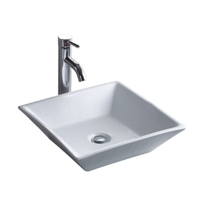 China Luxe Ceramic Lavatory Square Vessel Bathroom Sink with Overflow