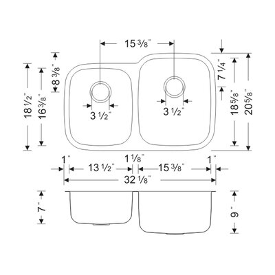 Craftsmen Series 32.13 x 20.63 40/60 Double Bowl Kitchen Sink