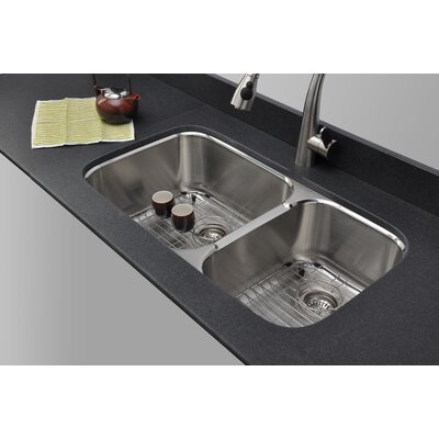 Trio 33.25 x 18.5 Uneven Double Bowl Kitchen Sink