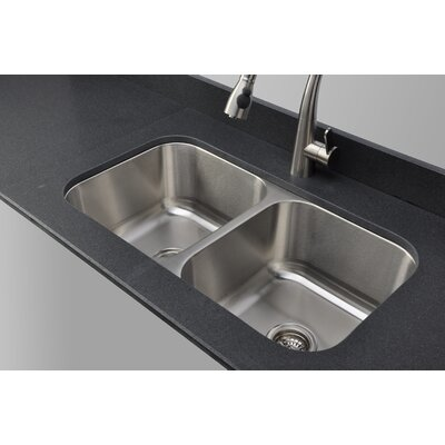 Craftsmen Series 32.5 x 32.13 Equal Double Bowl Kitchen Sink
