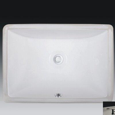 Rhythm Series Ceramic Rectangular Undermount Bathroom Sink with Overflow Sink Finish: Bisque