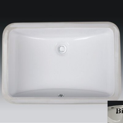 Rhythm Series Ceramic Lavatory Rectangular Undermount Bathroom Sink with Overflow Sink Finish: Bisque