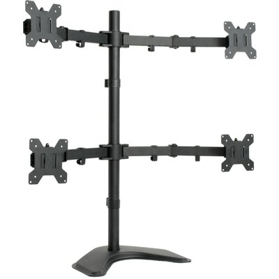 Quad LCD Monitor Free Standing Height Adjustable 4 Screen Desk Mount