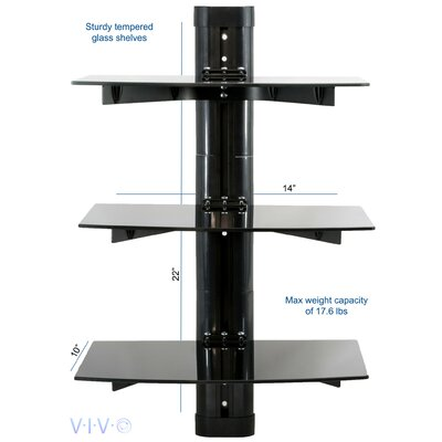 Floating Wall Mount Tempered Triple Glass Shelf