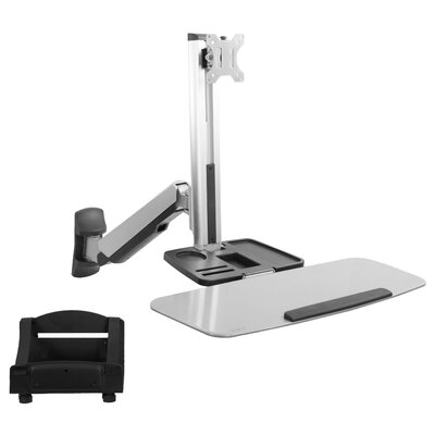 Single Monitor & Keyboard Sit-Stand Wall Mount / Standing Transition Workstation