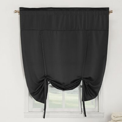 Groton Room Darkening Tie-Up Shade Color: Black