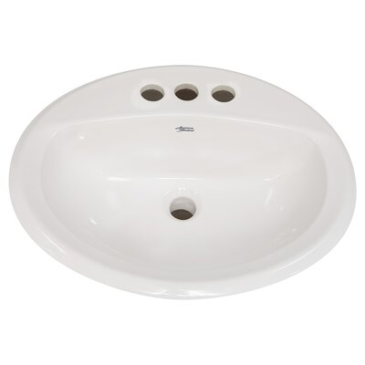 Aqualyn Ceramic Circular Drop-In Bathroom Sink with Overflow Faucet Mount: 4 Centers