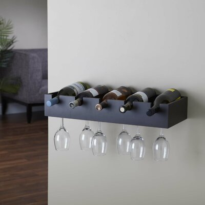 Kittleson 5 Bottle Wall Mounted Wine Rack Finish: Espresso