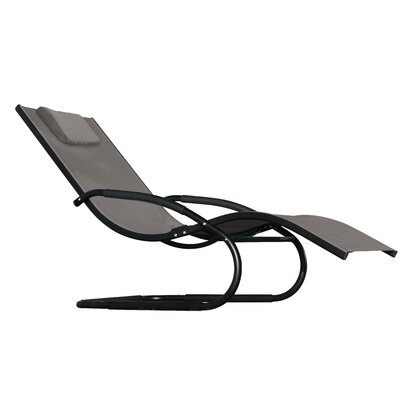Wave Chaise Lounge Fabric: Black Chrome