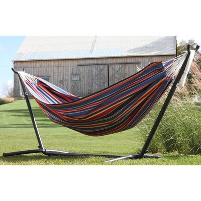 Double Polyester Hammock with Stand Color: Techno