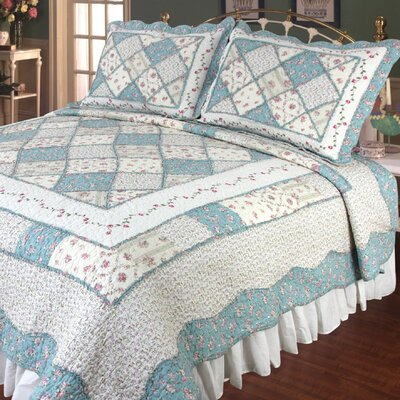 Calton Beige & Blue Quilt Size: Super King