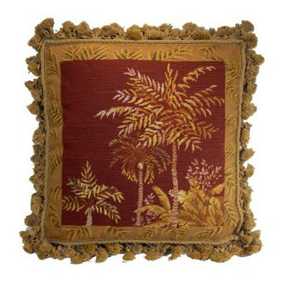 Ashberry Fringe Palm Tree Wool Throw Pillow