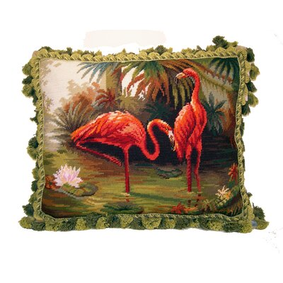 Asenath Fringe Flamingo Wool Throw Pillow