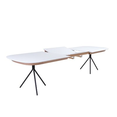 Jonas Extendable Dining Table Top Finish: White Lacquer