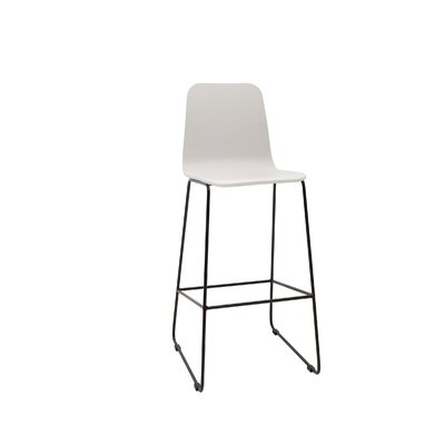 Agnes 30 Bar Stool Upholstery: White Lacquer