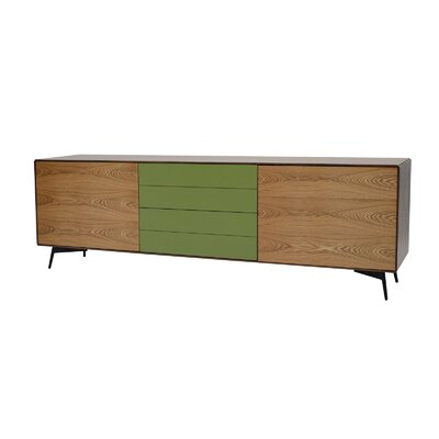 Andrej Sideboard Finish: Walnut / Green Lacquer