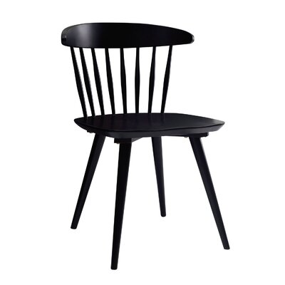Brittan Solid Wood Dining Chair (Set of 2) Finish: Black Matte