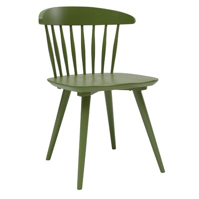 Brittan Solid Wood Dining Chair (Set of 2) Finish: Green Lacquer