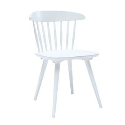 Brittan Solid Wood Dining Chair (Set of 2) Finish: White Lacquer
