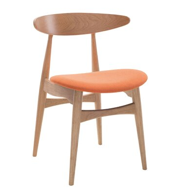 Kaia Side Chair (Set of 2) Upholstery: Tangerine, Finish: Natural Oak