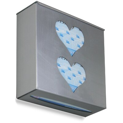 Ultimate Double Heart Glove Box Holder Color: Silver Metallic