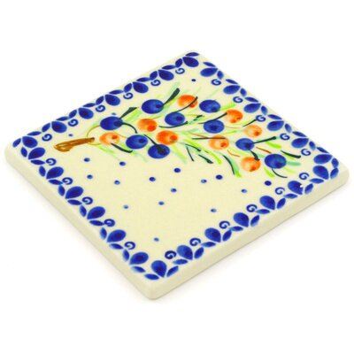 Polish Pottery 4.37 x 4.37 Engineered Stone Hand-Painted Tile in Glazed Blue/Cream