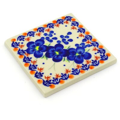 Polish Pottery 4.37 x 4.37 Engineered Stone Hand-Painted Tile in Glazed Blue/Orange