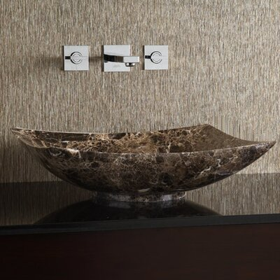 Marble Stone Rectangular Vessel Bathroom Sink Sink Finish: Dark Emperador