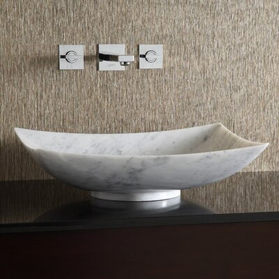 Marble Stone Rectangular Vessel Bathroom Sink Sink Finish: Carrera White