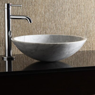 Marble Stone Circular Vessel Bathroom Sink Sink Finish: Carrera White