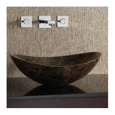Marble Stone Oval Vessel Bathroom Sink Sink Finish: Dark Emperador
