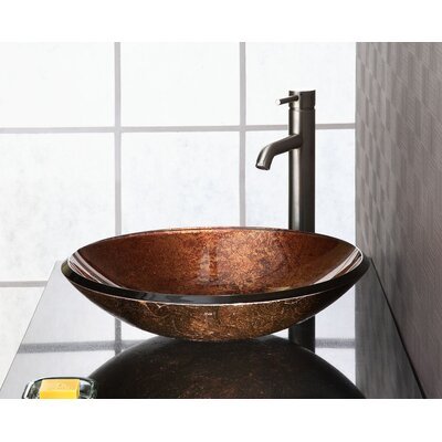 Reflex Glass Circular Vessel Bathroom Sink Sink Finish: Metallic Copper
