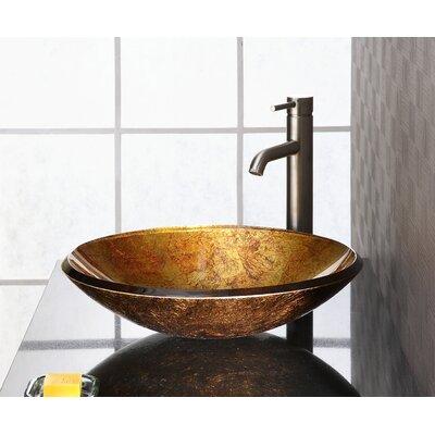 Reflex Glass Circular Vessel Bathroom Sink Sink Finish: Metallic Gold
