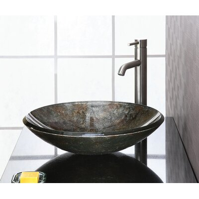 Reflex Glass Circular Vessel Bathroom Sink Sink Finish: Metallic Pewter