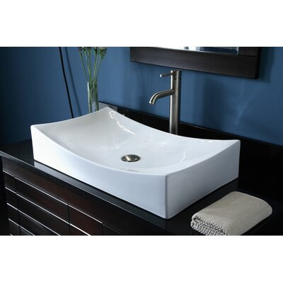 Jalbert Ceramic Rectangular Vessel Bathroom Sink