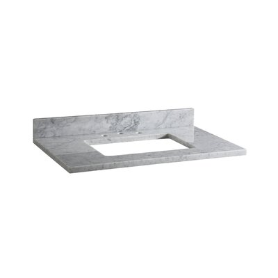 Hollifield 37 Marble Vanity Top for Rectangular Undermount Sink with Backsplash Finish: Carrera White