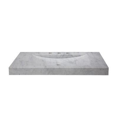 Marble 36 Vanity Top with Integrated Bowl Top Finish: Carrera White