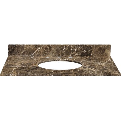 Hollifield 31 Marble Vanity Top for Undermount Sink with Backsplash Top Finish: Dark Emperador