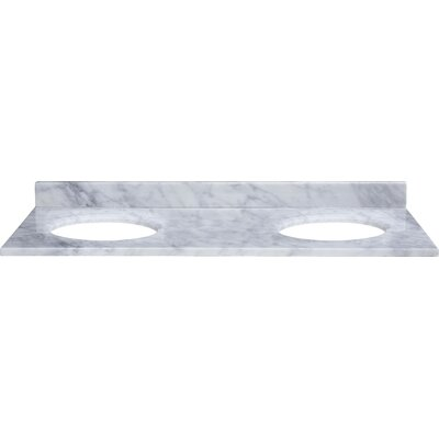 61 Marble Vanity Top for Undermount Sinks with Backsplash Top Finish: Carrera White