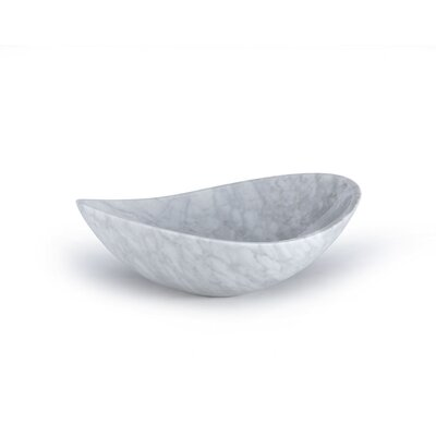 Marble Stone Oval Vessel Bathroom Sink Sink Finish: Carrera White