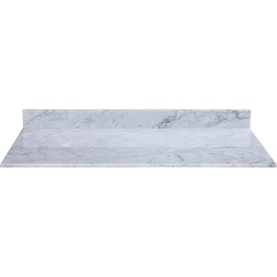 61 Marble Vanity Top for Vessel Sinks with Backsplash Top Finish: Carrera White