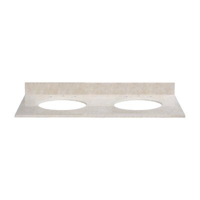 61 Marble Vanity Top for Undermount Sinks with Backsplash Top Finish: Galala Beige