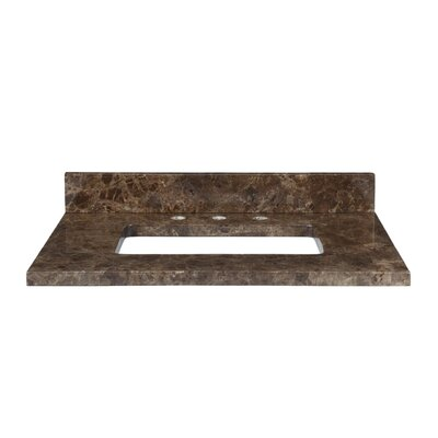 37 Marble Vanity Top for Rectangular Undermount Sink with Backsplash Top Finish: Dark Emperador