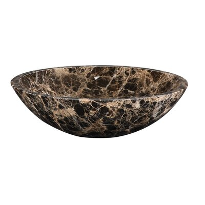 Marble Circular Vessel Bathroom Sink Sink Finish: Dark Emperador