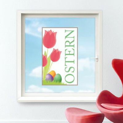 Image of Ostern Tulips Flowers Glass Sticker
