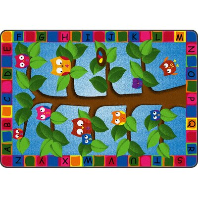 Alphabet Owls Green/Blue Area Rug